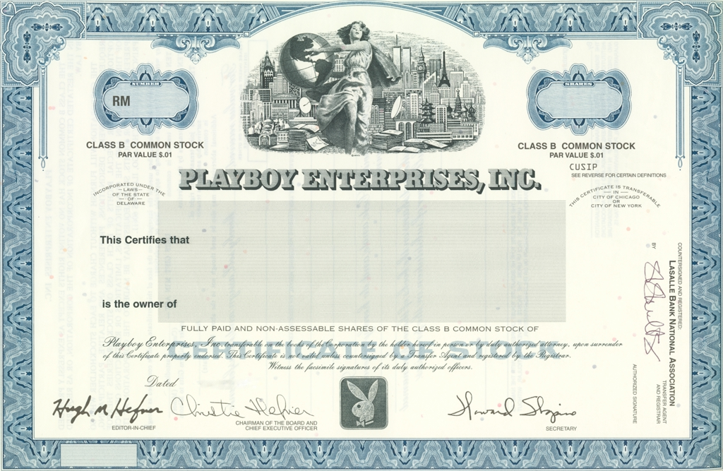 Playboy Enterprises, Inc. [ PLA ] Stock Certificate (Class B)