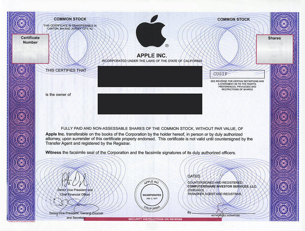 Stock certificates patrick and monica apple inc stock certificates 1betcityfo Choice Image