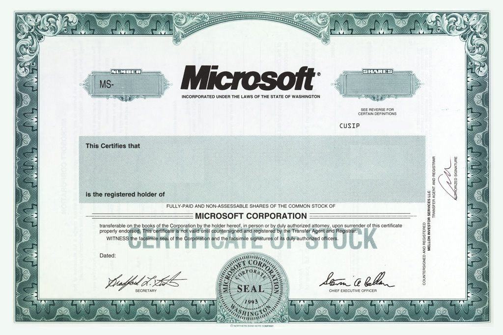 Microsoft corporation patrick and monica microsoft corporation stock certificates yadclub