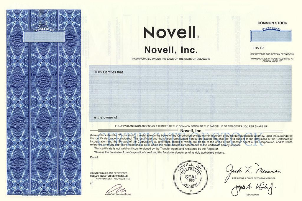 certificate novell monica patrick novl inc stocks